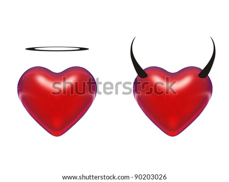 High resolution conceptual red 3D hearts isolated on white background. It is a set, group or collection of love symbols as angel and devil, for holiday,religion designs. Abstract shapes as metaphors