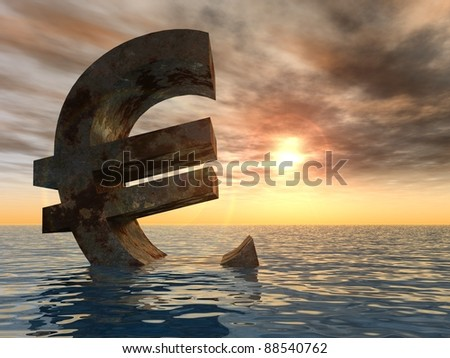 High resolution conceptual rusty metal euro symbol or sign sinking in water or sea as a metaphor or concept for crisis in Europe, with a sky at sunset ideal for financial,business or currency designs
