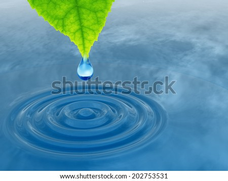 High resolution conceptual water or dew drop falling from a green fresh leaf on a blue clear water making waves, a concept ideal for summer, spring, nature or natural designs and also for ecology - stock photo