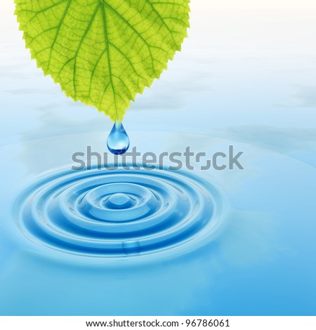 High resolution conceptual water or dew drop falling from a green fresh leaf on a blue clear water making waves. - stock photo