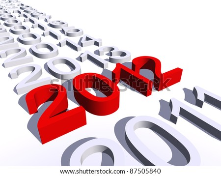 High resolution conceptual 2012 year in a row of years isolated on white background - stock photo