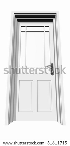 high resolution 3D closed door, isolated on white,ideal for business, conceptual, constructions or real estate designs