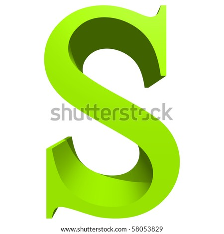 High resolution 3D green font isolated on white background - stock photo
