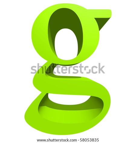 High resolution 3D green font isolated on white background