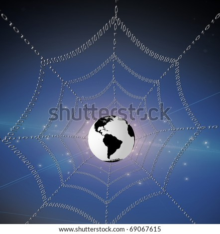 High Resolution 3D Illustration Internet represented by web of binary - stock photo