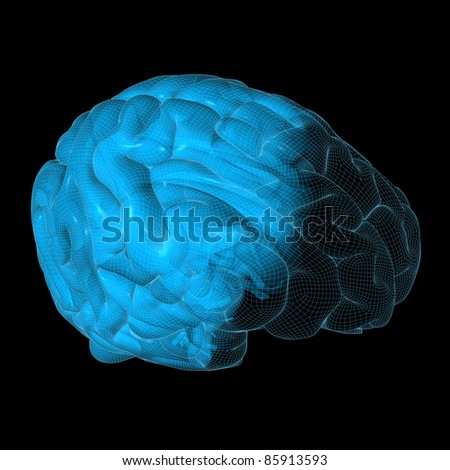 High resolution 3D illustration of a human brain. Wireframe concept - stock photo