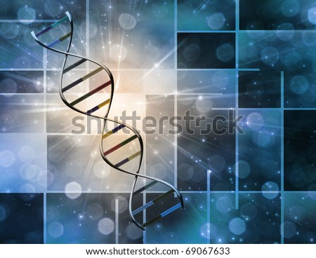 High Resolution 3D Illustration Of DNA Strand - stock photo
