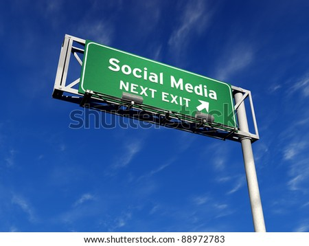 High resolution 3D illustration of freeway sign with a custom message. Social Media next exit! - stock photo