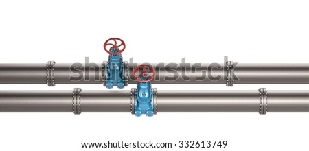 High resolution 3D Industrial pipeline with blue valves on white background