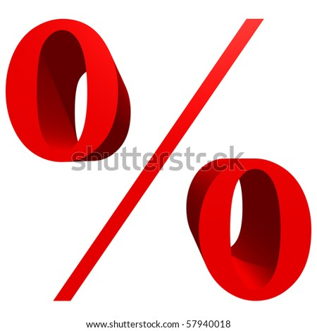 High resolution 3D red symbol isolated on white background - stock photo