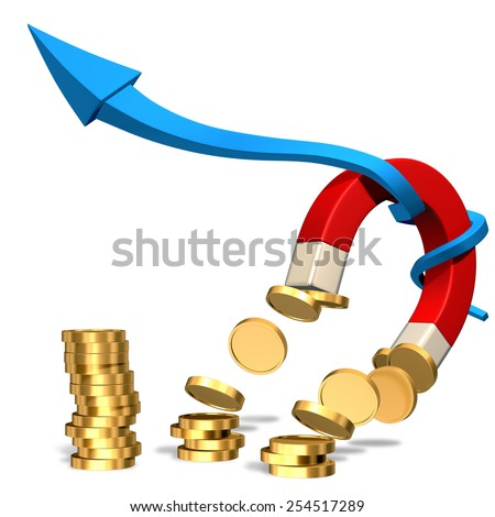 High resolution 3d render of a magnet attracting golden coins isolated on white background. Financial conceptual illustration - stock photo