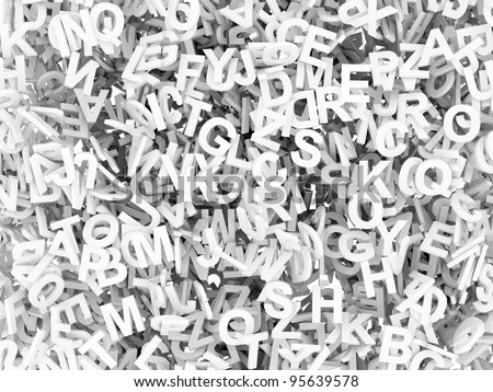 High resolution 3D render of 4500 / alphabetic characters