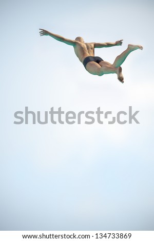 High resolution 3D render of an Diver above the pool with free space.