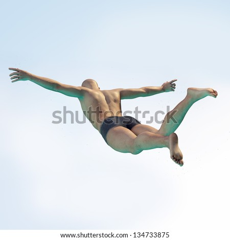 High resolution 3D render of an Diver above the pool with free space. - stock photo