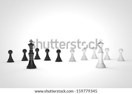 High resolution 3D render of black and white kings and pawns on chess board. - stock photo