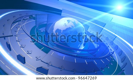 High resolution 3D render of Earth globe with abstract shapes rotating around, communication links streaming out from various orbits, lens flare in the background. - stock photo