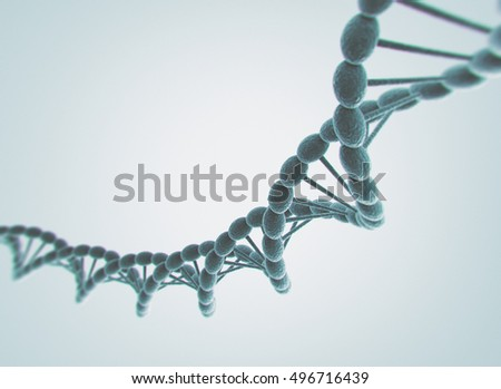 High resolution 3d render of human DNA string. 3Drender
