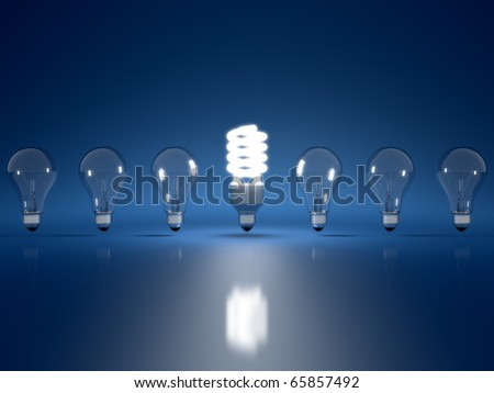 High Resolution 3d render of light bulb clipart on dark blue background - stock photo