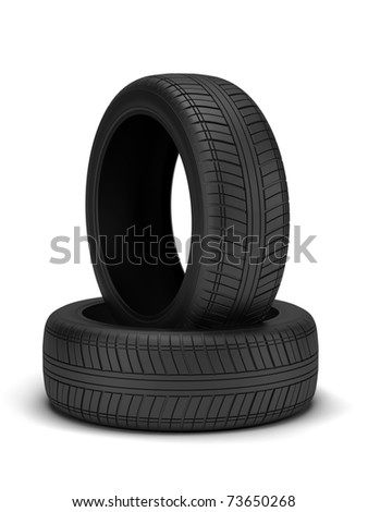 High resolution 3d render of new tyres isolated on white - stock photo