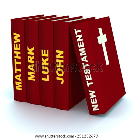 High resolution 3D render of pile of the books of the New Testament - stock photo