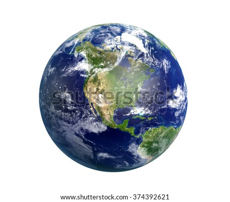 High resolution 3D render of Planet Earth. North America is in focus. Transparent water, shaded relief, natural colors, clouds cover. World map courtesy of NASA. Clipping path is included.