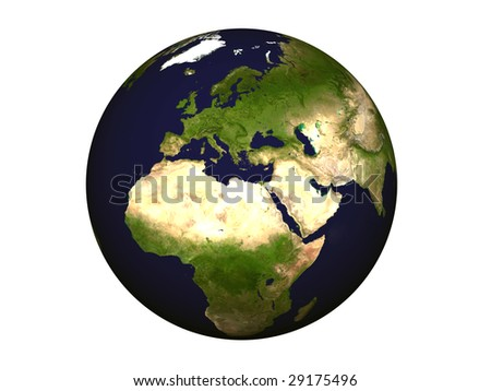 High resolution 3D render of Planet Earth. Shaded relief, natural colors, map.