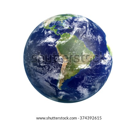 High resolution 3D render of Planet Earth. South America is in focus. Transparent water, shaded relief, natural colors, clouds cover. World map courtesy of NASA. Clipping path is included.