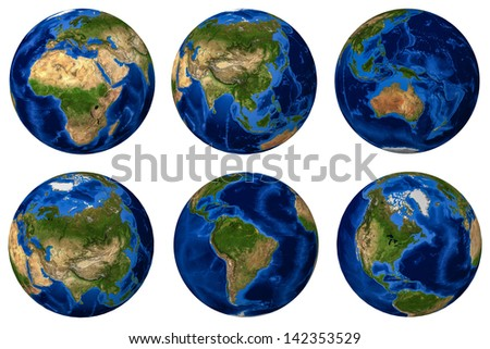High resolution 3D render of Planet Earth with Topography level (Earth texture in this image is provided by NASA) - stock photo