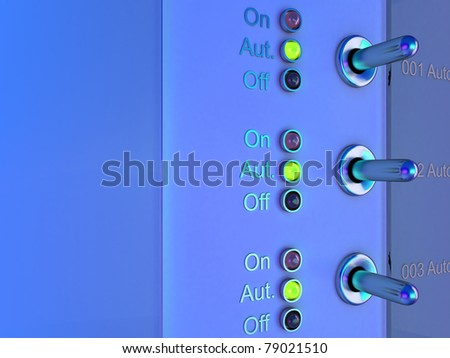 High resolution 3d render of/three toggle switches/illuminated in blue.