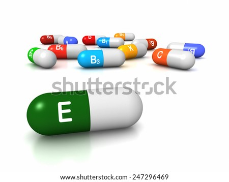 High resolution 3D render of vitamin supplements, focus on Vitamin E Tocopherols