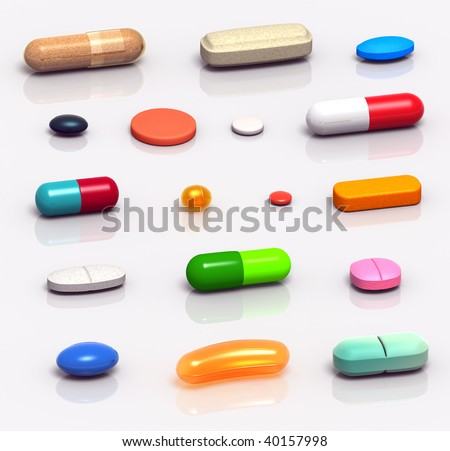 High resolution 3D rendered set of medicine pills, tablets, gels and capsules, in various shapes and colors - stock photo