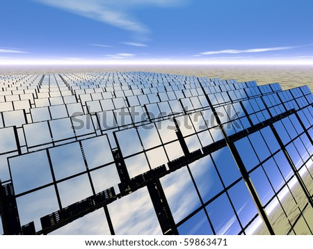 High resolution 3D rendered solar panel farm in desert - generating power with reflections of the scene around - stock photo