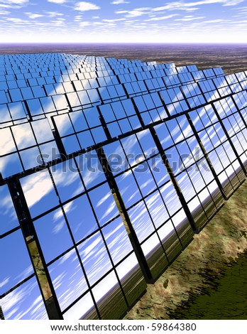 High resolution 3D rendered solar panel farm in desert - generating power with reflections of the scene around - an English-type countryside - stock photo