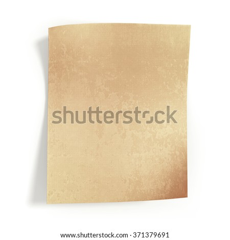 High-resolution 3d rendering, Beautiful shadows of vintage blank paper. - stock photo