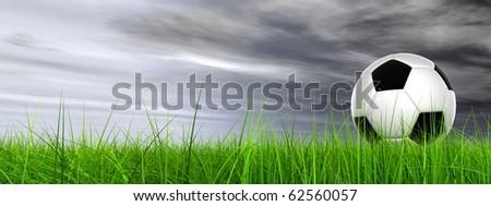 High resolution 3D soccer ball in green grass over a gray sky - stock photo