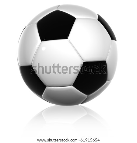 High resolution 3D soccer ball isolated on white background - stock photo