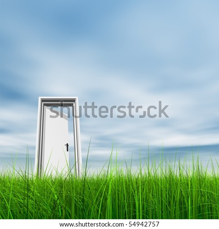High resolution 3D white door opened in grass to a nice sky background with white clouds - stock photo