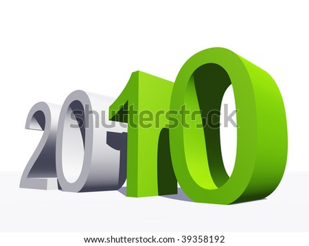 High resolution 3D 2010 year in white and green - stock photo