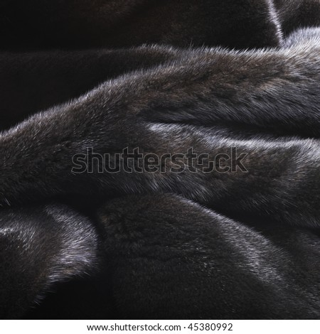 High resolution dark mink fur background - stock photo