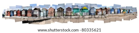 High resolution, detailed Hockney-style collage of beach huts at Poole, Dorset. With a pure white background.