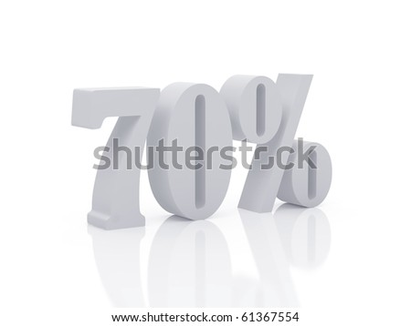 High resolution fifty percent. 3d illustration over  white backgrounds. - stock photo