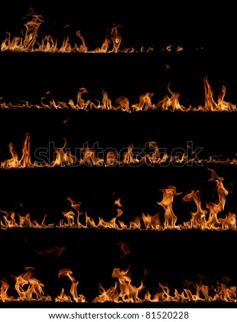 High resolution fire collection - stock photo