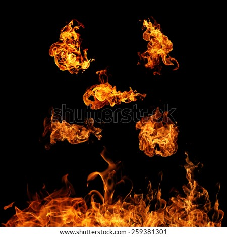 High resolution fire collection isolated on black background - stock photo