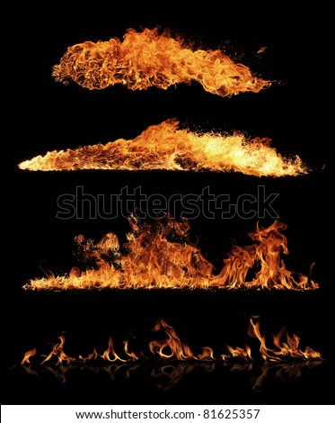 High resolution fire collection, isolated on black background - stock photo