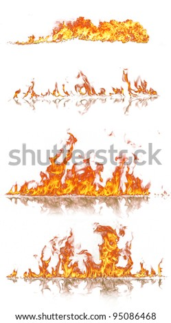 High resolution fire collection, isolated on white background