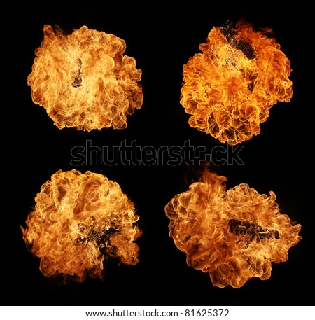 High resolution fire explosion isolated on black background - stock photo