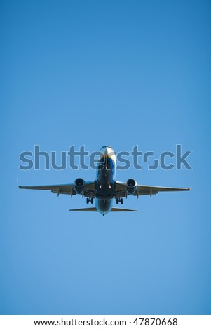 High resolution flying jet airplane directly above the camera - stock photo