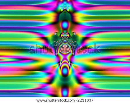 high resolution fractal rendering of colorful rainbow totem and butterflies - stock photo
