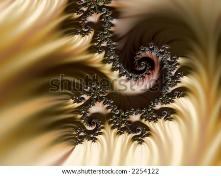High resolution fractal rendering of desert sands, mountains and dunes - stock photo