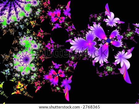 High resolution fractal rendering of flowers on a black background - stock photo